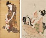Fig 4. Kitagawa Fujimaro, Mare i fill, 1818, tinta i color sobre seda, Portland Art Museum (esq.), Utamaro Kitagawa, Mufant-se del al nadó amb una cirera d'hivern (Hôzuki), 1799-1800, d'una sèrie d'escenes quotidianes, tinta i color sobre paper, Harvard Art Museum.