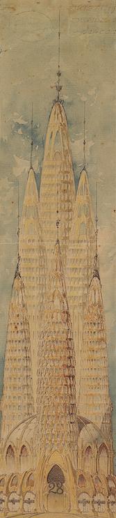 """El dibuix del gratacels """"gaudinià"""" conservat al Centre de Lectura"""