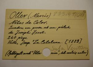 Fitxa manuscrita per Plàcid Vidal. Biblioteca del Centre de Lectura de Reus.