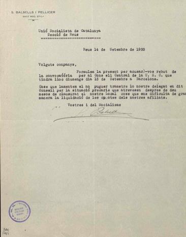 Documents del radi de Reus del PSUC