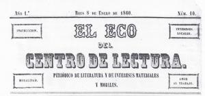Fig. 14. Capçalera. El Eco, 1860. Autor desconegut.
