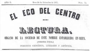 Fig. 15. Capçalera. El Eco, 1871. Autor desconegut.