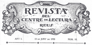 Fig. 24. Capçalera. Revista 1920. Josep Rocarol.