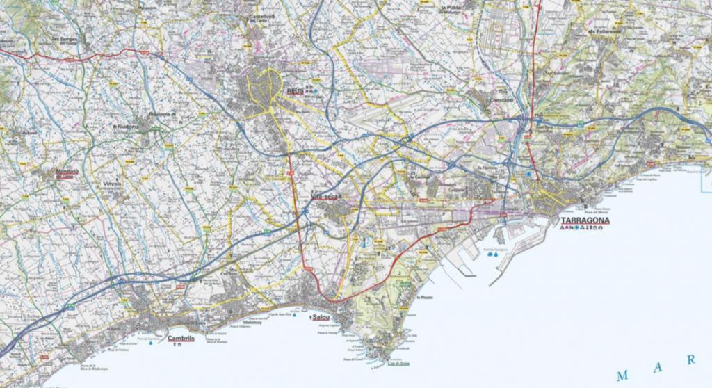 Figura 1.1. El triangle Reus-Salou-Tarragona. Font: mapa topogràfic 1:50.000 de l'ICGC