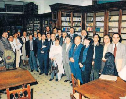 Visita d'Heribert Barrera, com a president de l'Ateneu Barcelonès, l'any 1997