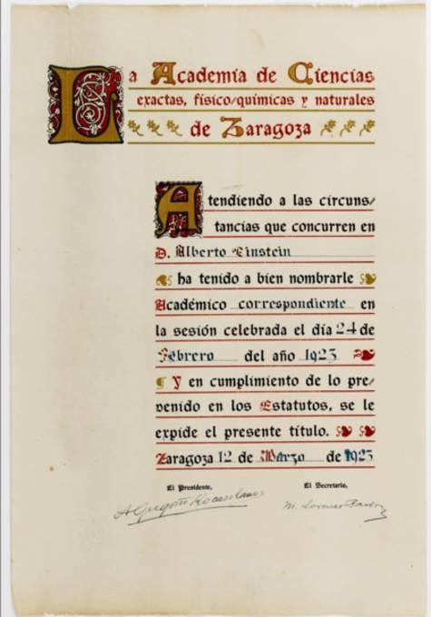 Documento en el que se nombra al alemán miembro de la Academia de Ciencias de Zaragoza. Fuente: Universidad Hebrea de Jerusalén
