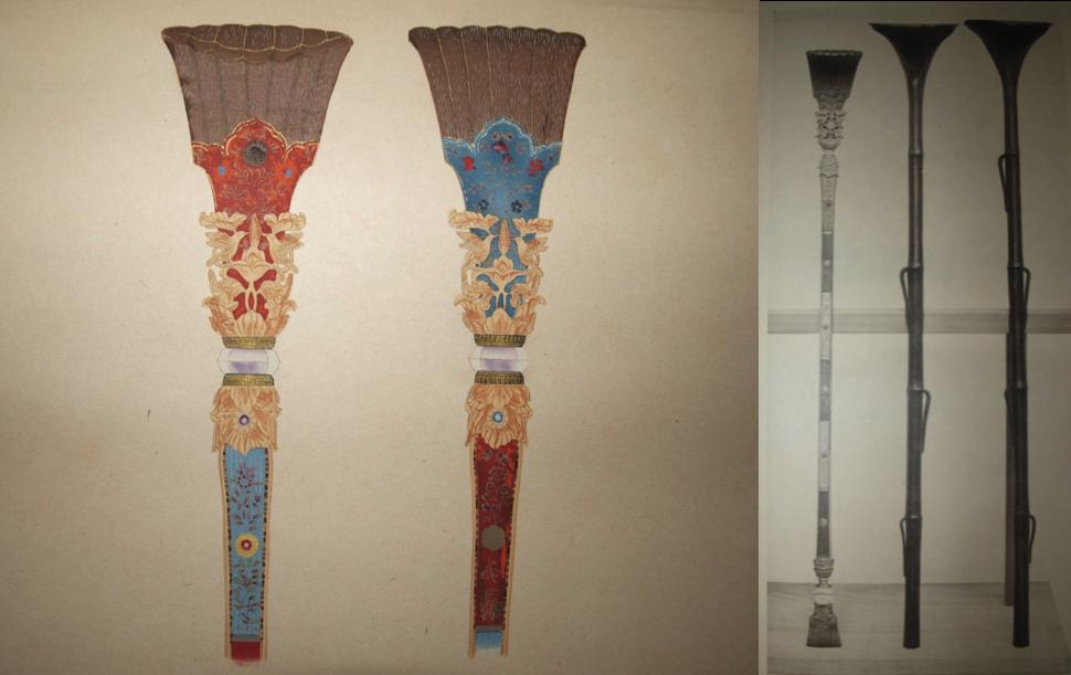 """Làmines 182-183. Reproducció en gravat a color y en fototípia de Nyoi, vares utilitzades pels clergues budistes. Fusta d'os de balena, decorada amb pintura d'or i plata, 58,78 cm d'alt aprox. , en la nansa té gravat el nom del temple """" Todaiji """"."""