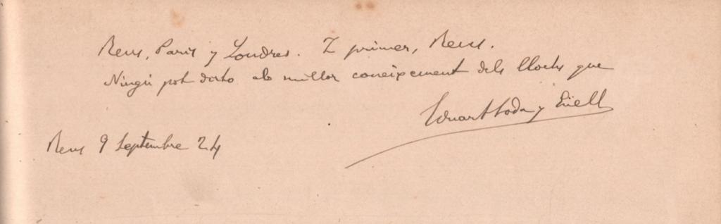 Autògraf de Toda (1924), en un àlbum de la col·lecció Martorell Òdena. Biblioteca del Centre de Lectura de Reus.