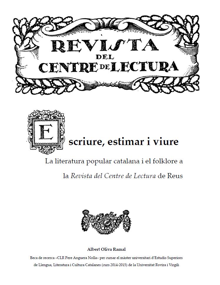 La literatura popular catalana i el folklore a la Revista del Centre de Lectura de Reus