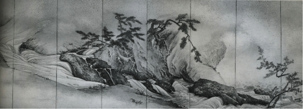 Fig. 4. Reproducció a fototípia de Views on the Hôzu River, l'obra original per Maruyama Okyo, Japó, 1795, pinzellades amb colors suaus i tinta sobre paper, un dels vuit paravents del conjunt, 154,5 x 483 cm