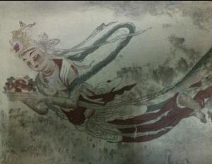 Fig. 7, Reproducció en gravat a color, fragment de la làmina núm 10. Angel