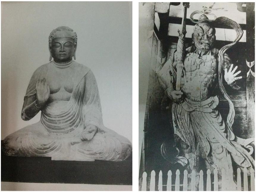 Fig 13 i 14. Reproducció en fototipia de Wooden Image of Sakyamuni (esq.) i estàtua de Narayana, el déu indi, encarnació de Brahma i creador del món, a les portes sud del temple Todaiji, l'original per Unkei, s.finals XII-XIII, Japó.