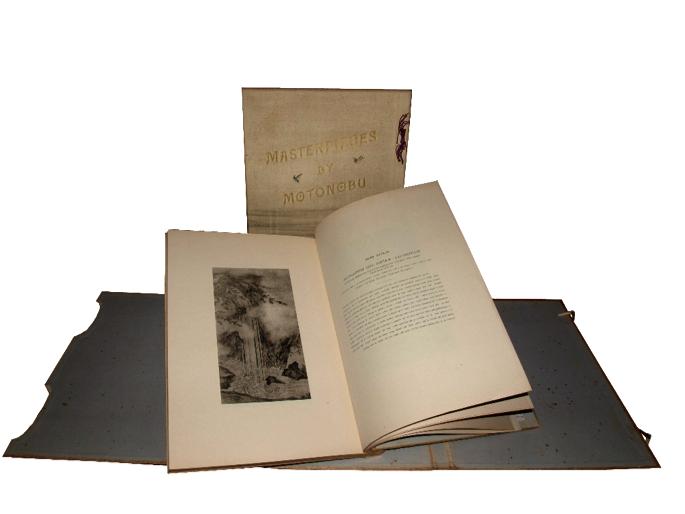 Els dos volums de Masterpieces by Motonobu de la col·lecció del Centre de Lectura de Reus