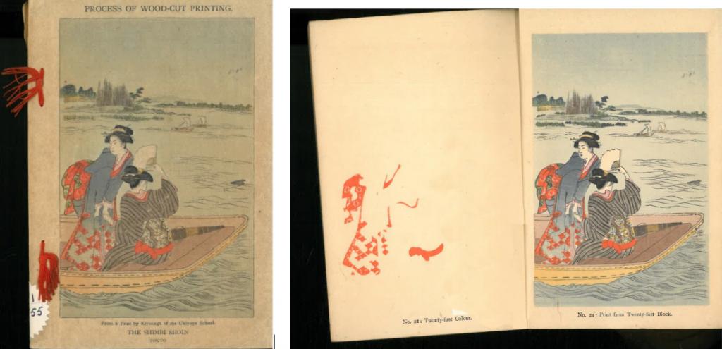 Fig 1. Process of Woodcut Printing, Shimbi Shoin, publicació en la Biblioteca del Monestir de Montserrat (Catalunya)