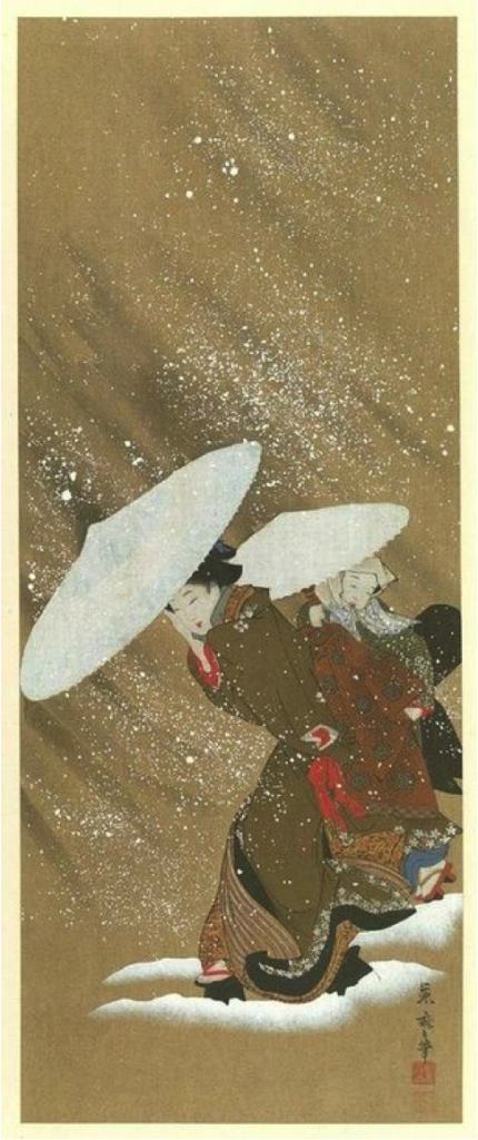 Fig 5. Una bellesa a la neu a Process of Woodcuts Printing, Shimbi Shoin, 1910. Original per Fujiwaro Kitagawa, principis s.XX, Allen Memorial Art Museum, Oberlin, Ohaio.