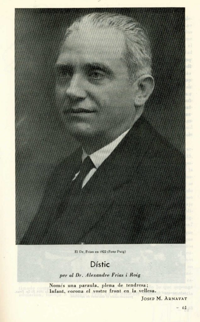 Un dístic de Josep M. Arnavat dedicat al Dr. Frias (1958)