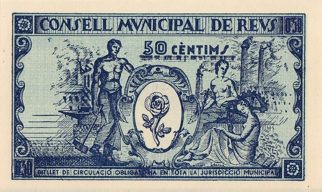 50 cèntims Reus 1937 JRS revers