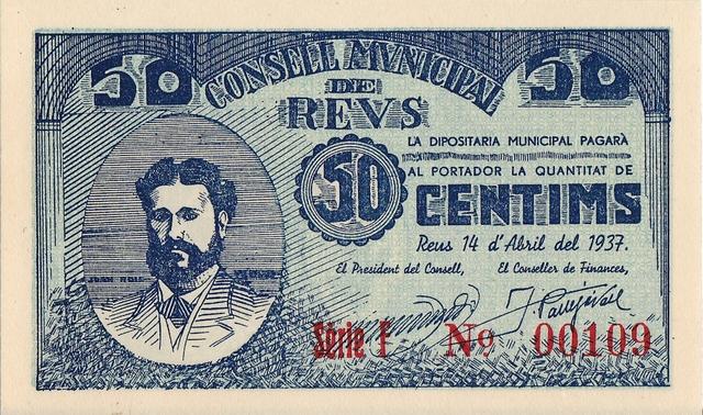 Bitllet de 50 cèntims, amb el retrat de J. Roig i Solé, emès pel Consell Municipal de Reus el 14 d'abril de 1937. Fot. M. D. Capdevila.