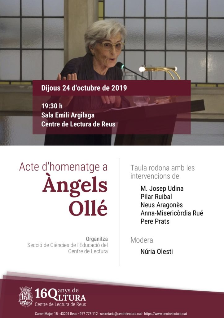 Homenatge del Centre de Lectura a l'Àngels Ollé Romeu