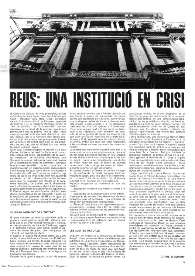 El règim del 78 a la Revista del Centre de Lectura
