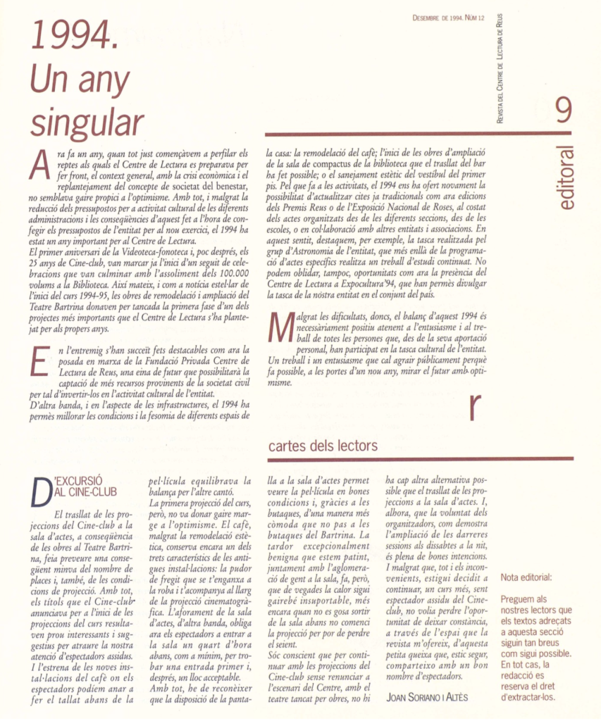 La Revista del Centre de Lectura: un projecte d'equip