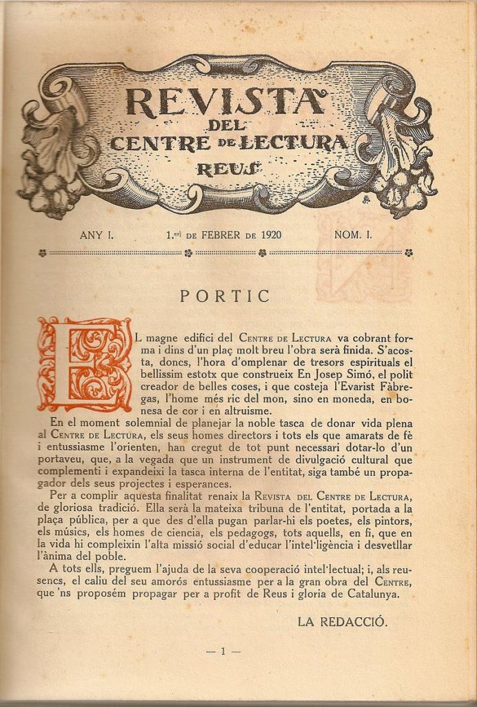 Algunes dades sobre la 3a època de la Revista del Centre de Lectura (1920-1935)